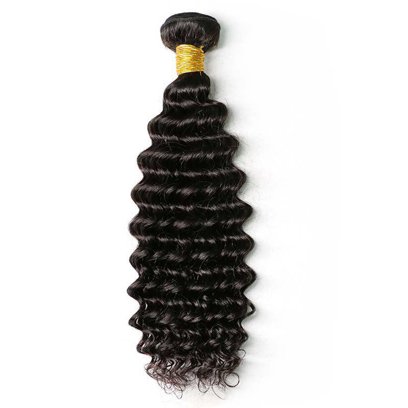 Natural Black Deep Wave Brazilian Virgin Human Hair Weave Extensions 1pc - NATURAL BLACK 10INCH