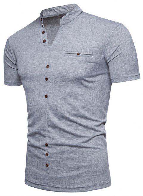 New Fashion Men's Collar Design Ouma Short-Sleeved T-Shirt - LIGHT GRAY L