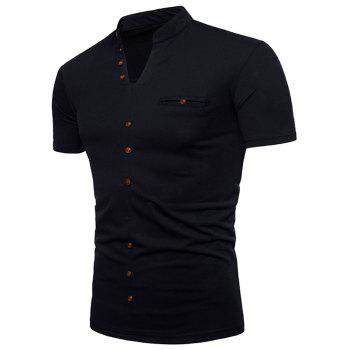 New Fashion Men's Collar Design Ouma Short-Sleeved T-Shirt - BLACK XL
