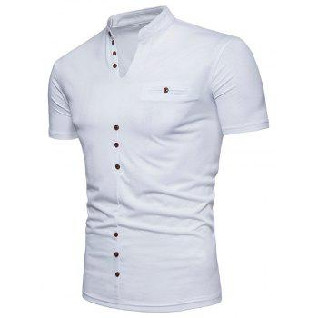 New Fashion Men's Collar Design Ouma Short-Sleeved T-Shirt - WHITE S