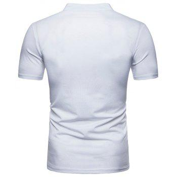 New Fashion Men's Collar Design Ouma Short-Sleeved T-Shirt - WHITE L