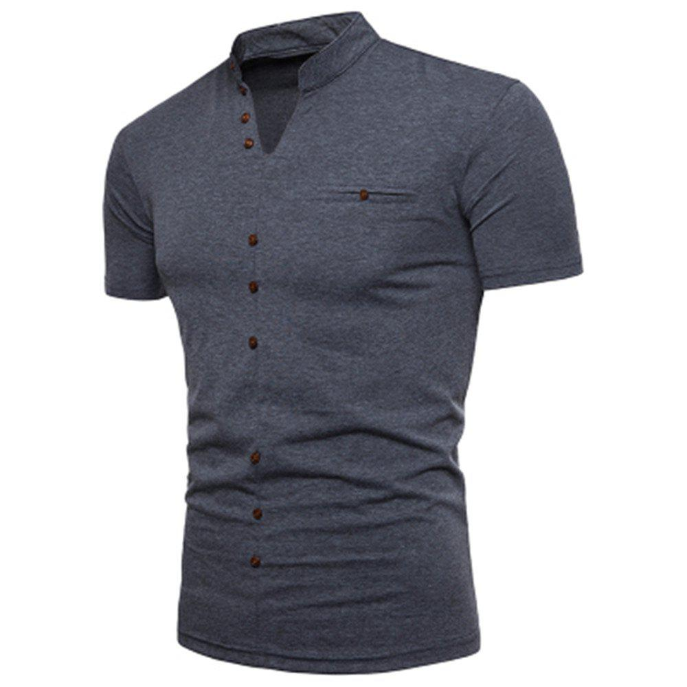New Fashion Men's Collar Design Ouma Short-Sleeved T-Shirt - DARK GRAY 2XL