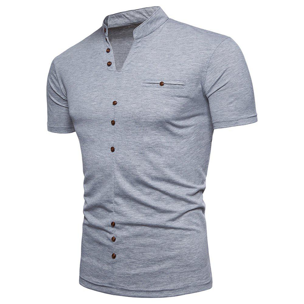 New Fashion Men's Collar Design Ouma Short-Sleeved T-Shirt - LIGHT GRAY S