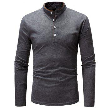 Classic Edging Simple Solid Casual Slim Long-Sleeved Collar T-Shirt - GRAY 3XL
