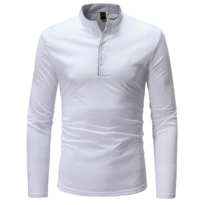 Classic Edging Simple Solid Casual Slim Long-Sleeved Collar T-Shirt - WHITE 3XL