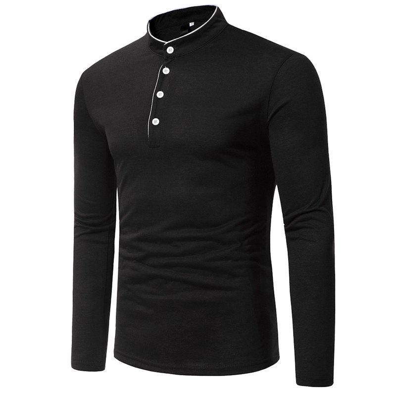 Classic Edging Simple Solid Casual Slim Long-Sleeved Collar T-Shirt - BLACK 3XL