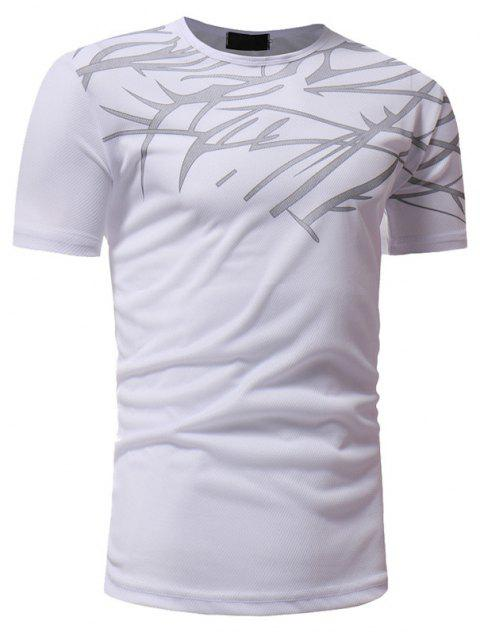 Mesh Print Casual Slim Short-Sleeve T-Shirt - WHITE 3XL