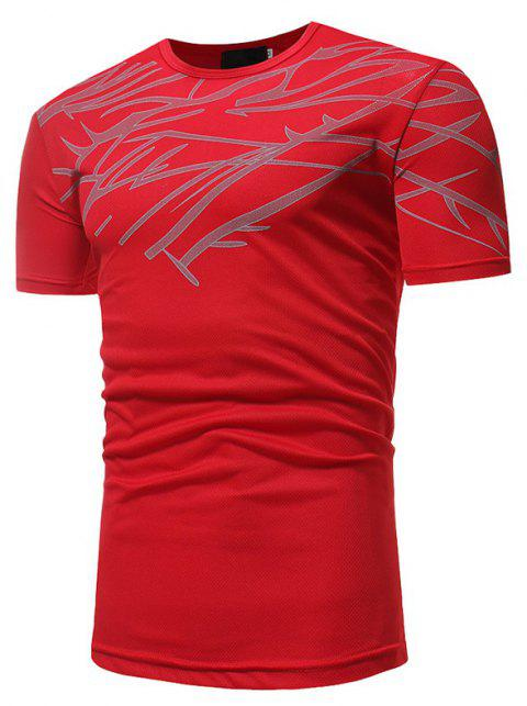 Mesh Print Casual Slim Short-Sleeve T-Shirt - RED 3XL