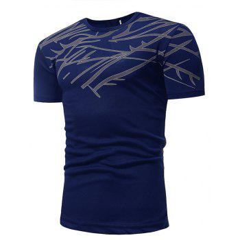 Mesh Print Casual Slim Short-Sleeve T-Shirt - CADETBLUE 3XL
