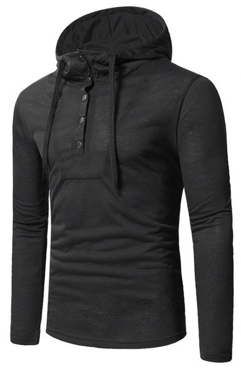 Personality Button Casual Hooded Slim Long-Sleeved Hoodie - BLACK 3XL