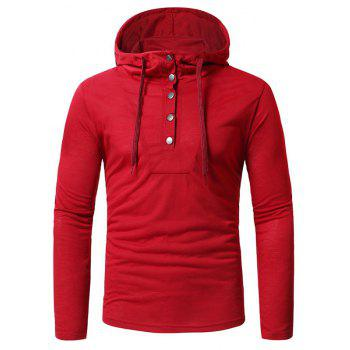Personality Button Casual Hooded Slim Long-Sleeved Hoodie - RED 3XL