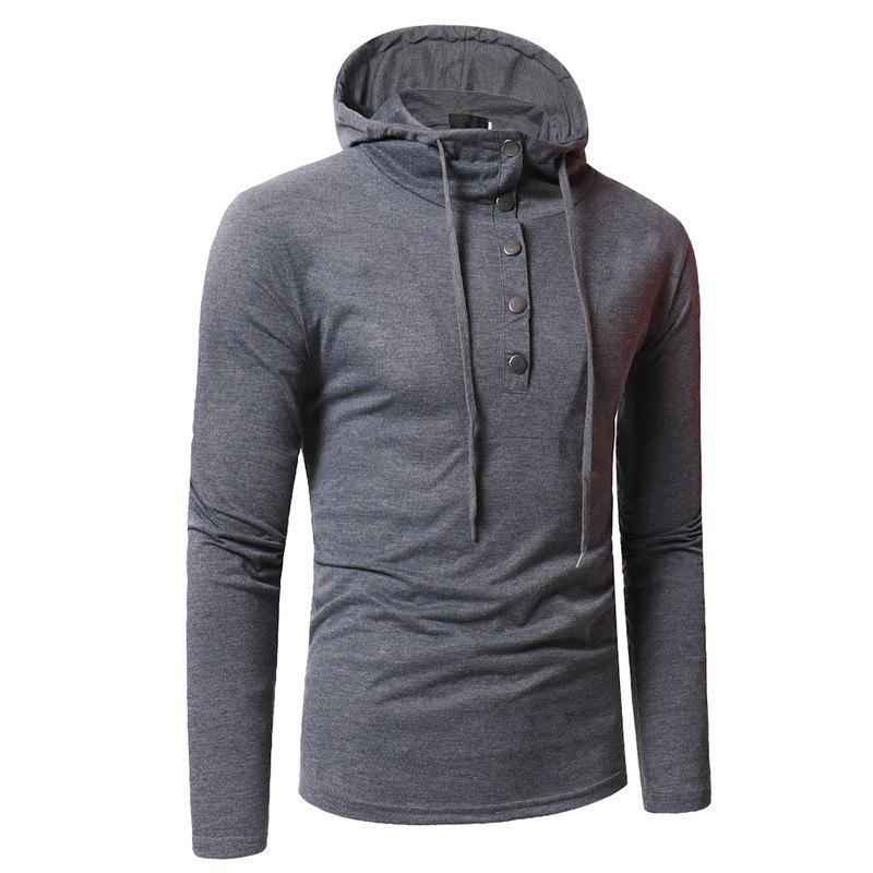 Personality Button Casual Hooded Slim Long-Sleeved Hoodie - GRAY 3XL