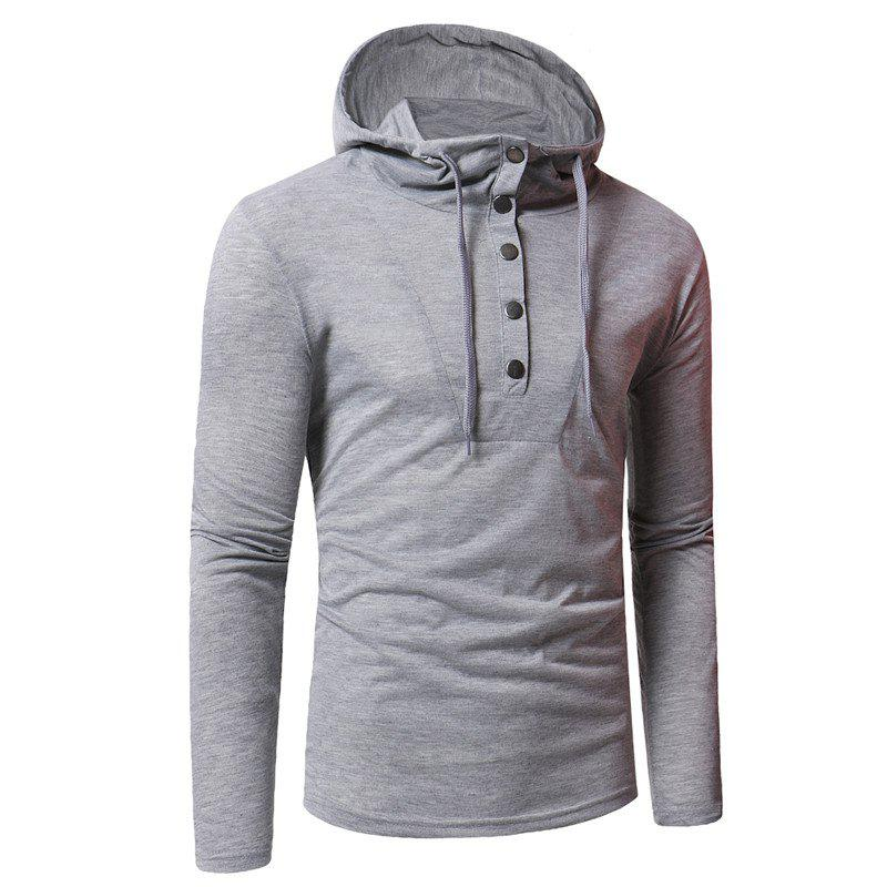 Personality Button Casual Hooded Slim Long-Sleeved Hoodie - LIGHT GRAY 3XL