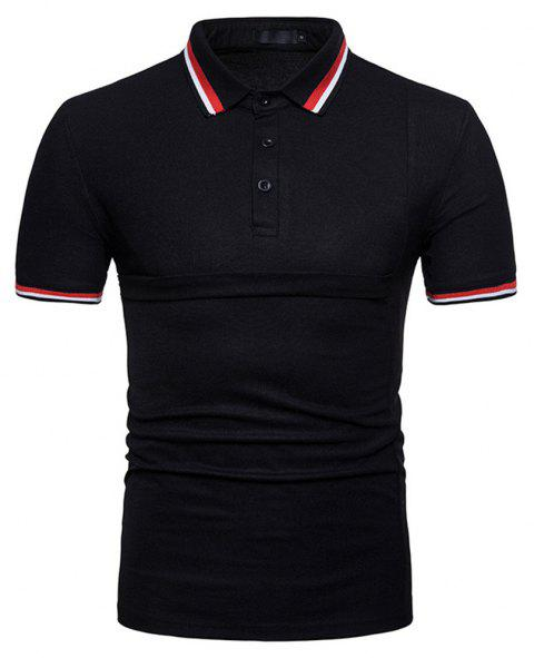 New Men's Fashion Stitching Large Size Short-Sleeved Polo Shirt - BLACK S