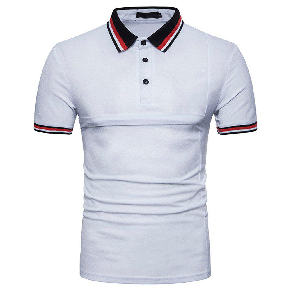New Men's Fashion Stitching Large Size Short-Sleeved Polo Shirt - WHITE M