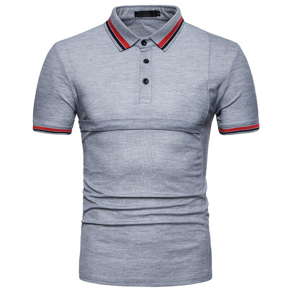New Men's Fashion Stitching Large Size Short-Sleeved Polo Shirt - LIGHT GRAY XL