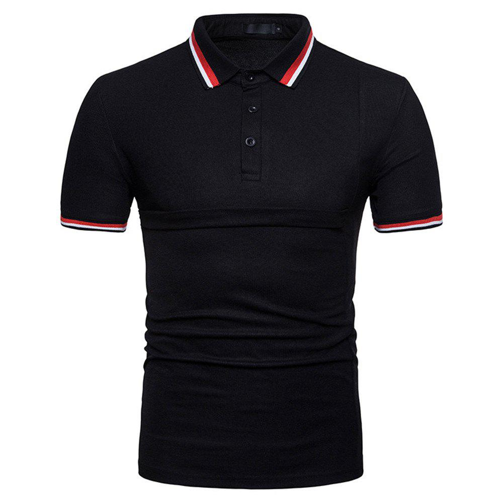 New Men's Fashion Stitching Large Size Short-Sleeved Polo Shirt - BLACK L