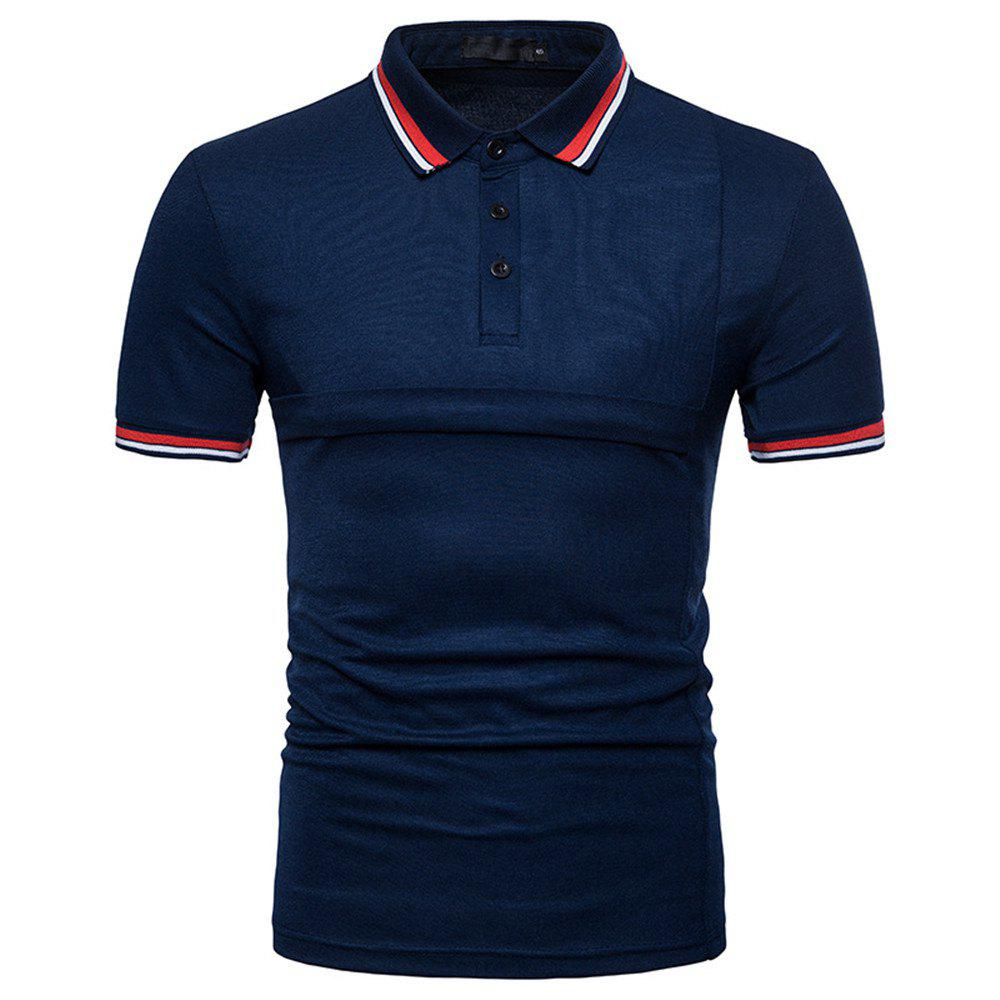 New Men's Fashion Stitching Large Size Short-Sleeved Polo Shirt - CADETBLUE L