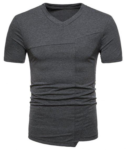 New Fashion Ouma Men's Stitching Short-Sleeved T-Shirt - DARK GRAY 2XL