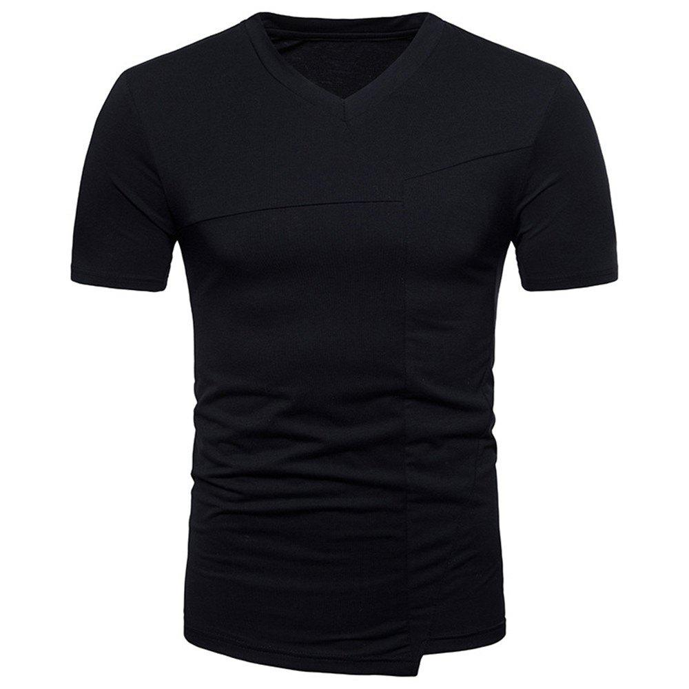 New Fashion Ouma Men's Stitching Short-Sleeved T-Shirt - BLACK 2XL