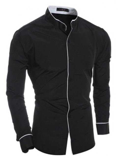 New Personality Striped Casual Collar Men's Slim Long-Sleeved Shirt - BLACK XL