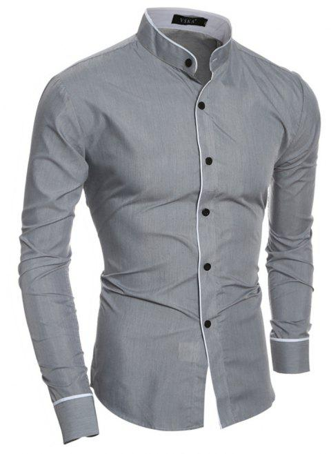 New Personality Striped Casual Collar Men's Slim Long-Sleeved Shirt - GRAY 2XL