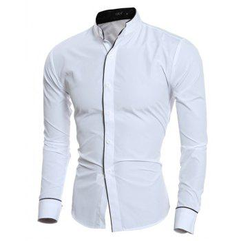 New Personality Striped Casual Collar Men's Slim Long-Sleeved Shirt - WHITE 2XL
