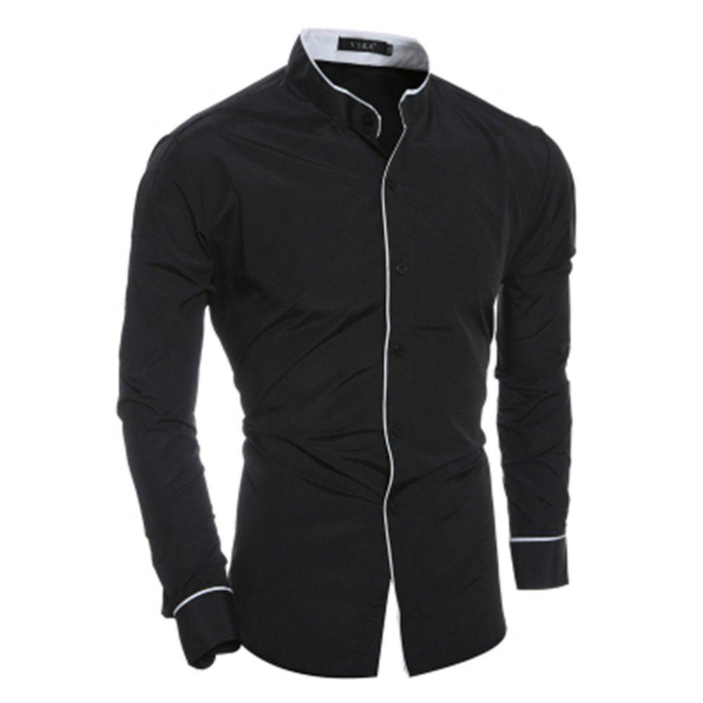 New Personality Striped Casual Collar Men's Slim Long-Sleeved Shirt - BLACK 2XL