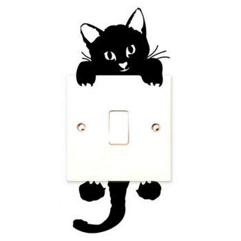 DIHE Originality Cute Cat Black and White On-Off Wall Poster - BLACK