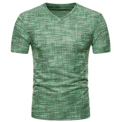 Men's Casual Pure Color Slim Fit Short Sleeve Cotton T-shirts - SPRING GREEN 2XL