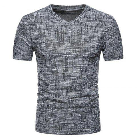 Men's Casual Solid  Color Slim Fit Short Sleeve Cotton T-shirts - DARK GRAY 2XL