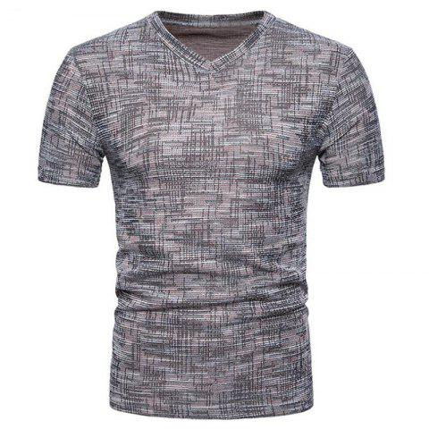 Men's Casual Pure Color Slim Fit Short Sleeve Cotton T-shirts - COFFEE 2XL
