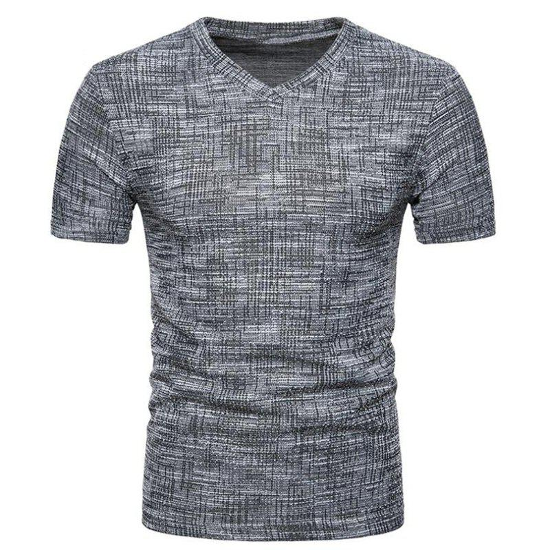 Men's Casual Pure Color Slim Fit Short Sleeve Cotton T-shirts - DARK GRAY 2XL