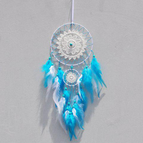 Blue Feather Double - Circle Dreamcatcher Handmade Home Hanging Decoration Gift - CELESTE
