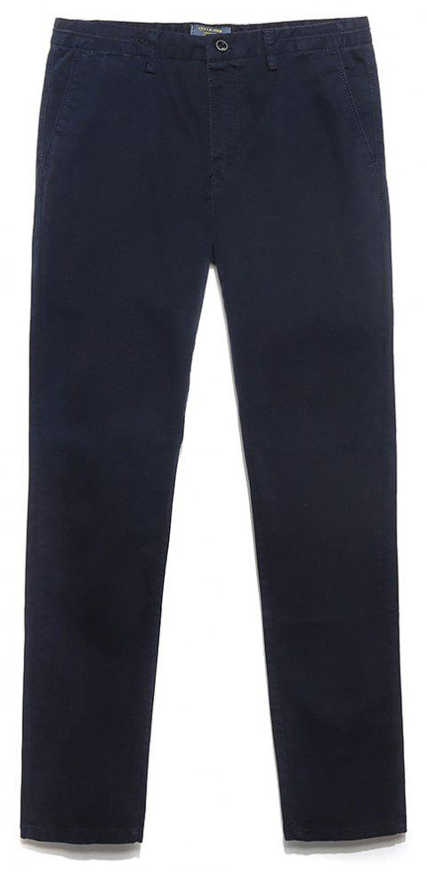 Men's Straight Tube Pure Color Tramp Fallow Pants - DEEP BLUE 28