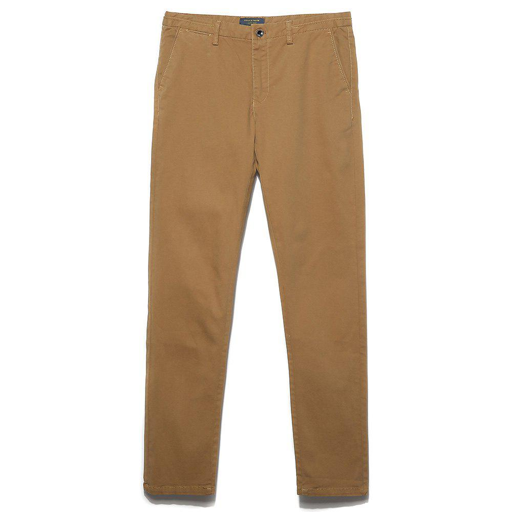 Men's Straight Tube Pure Color Tramp Fallow Pants - LIGHT KHAKI 31