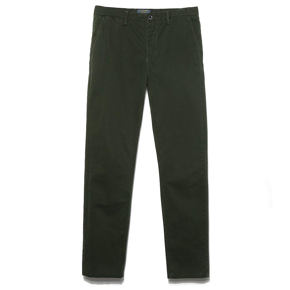 Men's Straight Tube Pure Color Tramp Fallow Pants - ARMY GREEN 36