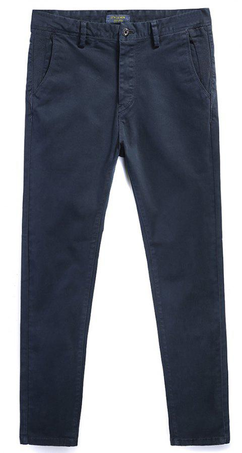 Pure Cotton of Men's Straight Tube  Lounge Pants - DEEP BLUE 33