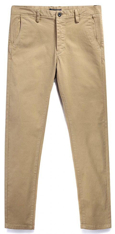 Pure Cotton of Men's Straight Tube  Lounge Pants - LIGHT KHAKI 38