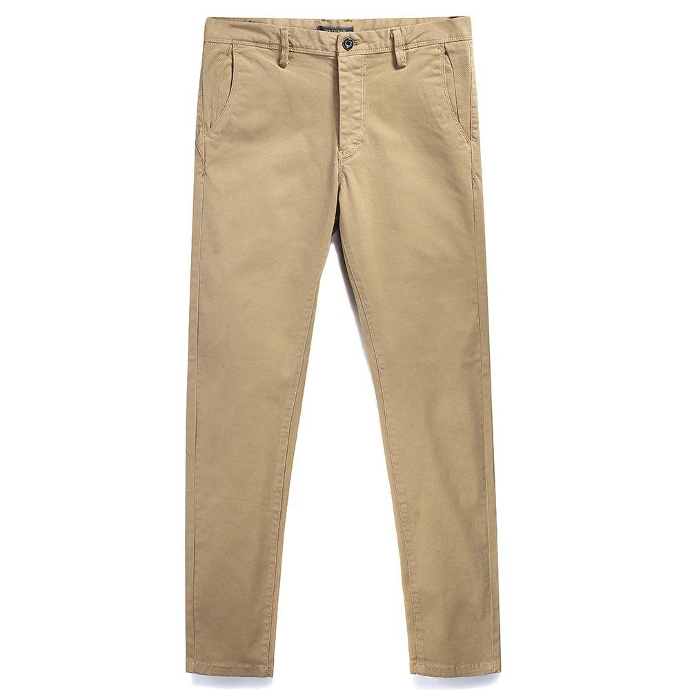 Pure Cotton of Men's Straight Tube  Lounge Pants - LIGHT KHAKI 32