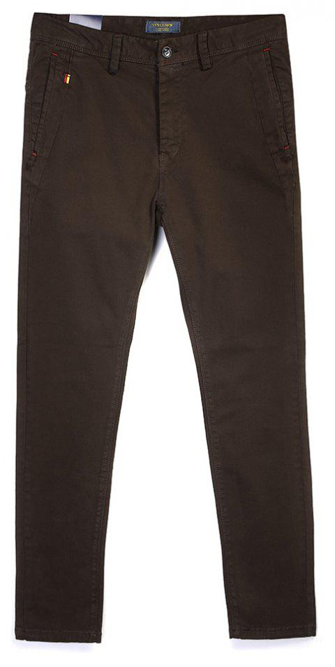 Man Fashion Pure Color Straight Tube Casual Pants - COFFEE 29