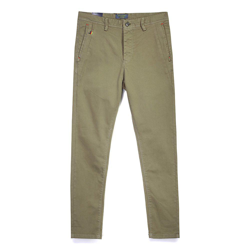 Man Fashion Pure Color Straight Tube Casual Pants - LIGHT KHAKI 36