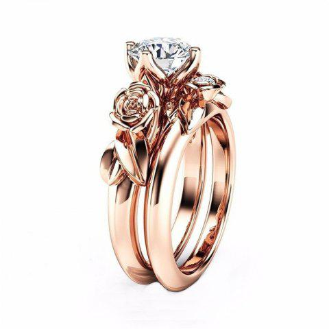 Rose Flower Diamond Couple Rings - CHAMPAGNE US SIZE 5