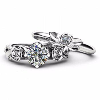 Rose Flower Diamond Couple Rings - WHITE US SIZE 10