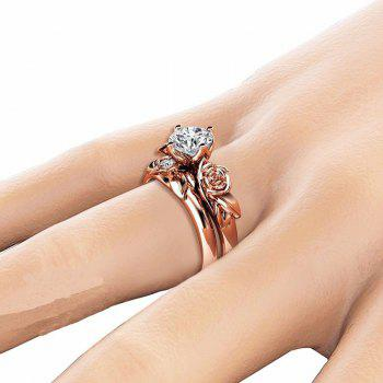 Rose Flower Diamond Couple Rings - CHAMPAGNE US SIZE 7