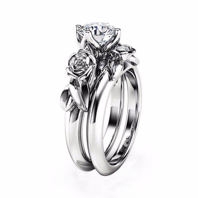 Rose Flower Diamond Couple Rings - WHITE US SIZE 11