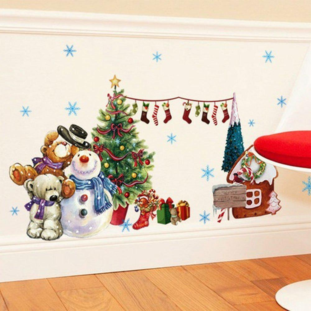 The New Year Christmas Tree Snow Window Glass Showcase Decorative Wall Stickers a backdrop christmas backgrounds new year noel golden tree gift ball xmas photocall vintage fond newborns