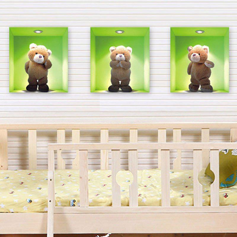 Cute Children Room Bedroom Living Room Glass Teddy Bear Decoration Wall Stickers custom papel de parede para sala sheet music murals for bedroom living room tv wall vinyl waterproof which wallpaper