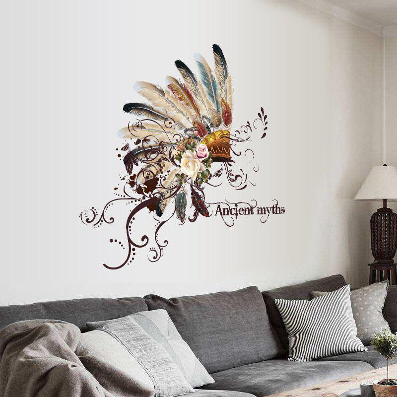 Removable New Creative Pretty Feather Hat Bedroom Living Room Decor Wall Sticker iminovo simple led wall lamp bedside light aisle modern living room bedroom balcony corridor staircase european creative light