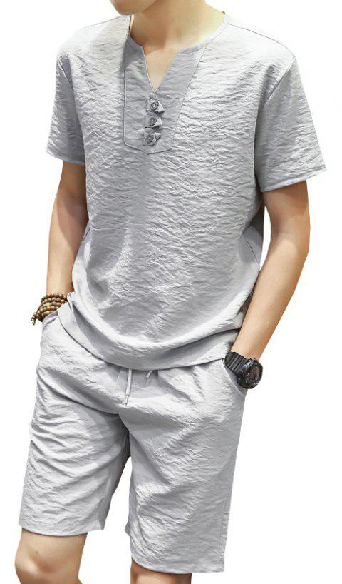 Summer Short Sleeved Shorts Leisure Sports Suit - LIGHT GRAY L